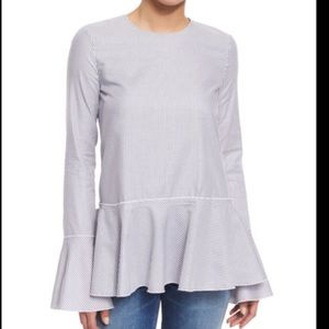 Theory Bell Sleeved Peplum Blouse (Size P)